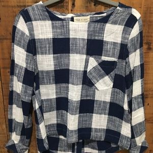 Anthropologie Cloth & Stone Gingham Top